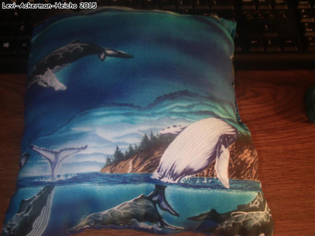 Humpback Whale Pillow by Levi-Ackerman-Heicho