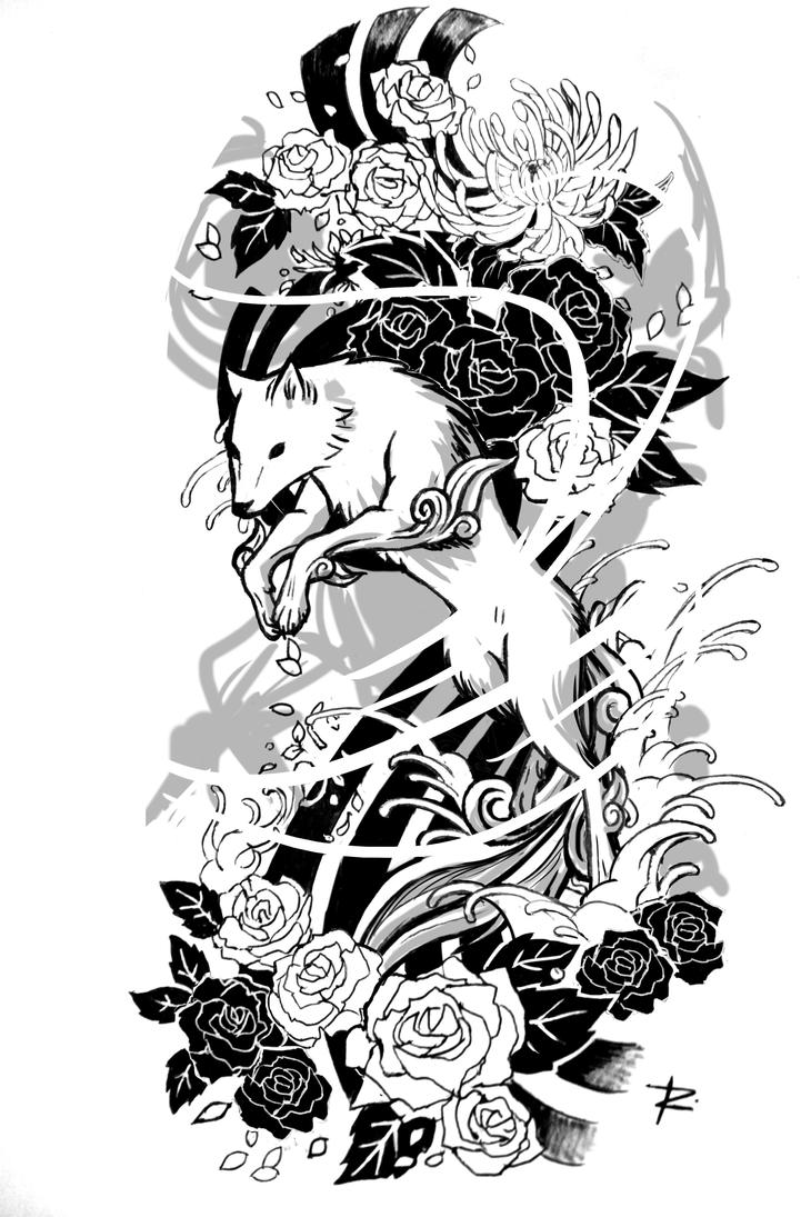 amaterasu tattoo sketch by renefelem on deviantart. Black Bedroom Furniture Sets. Home Design Ideas