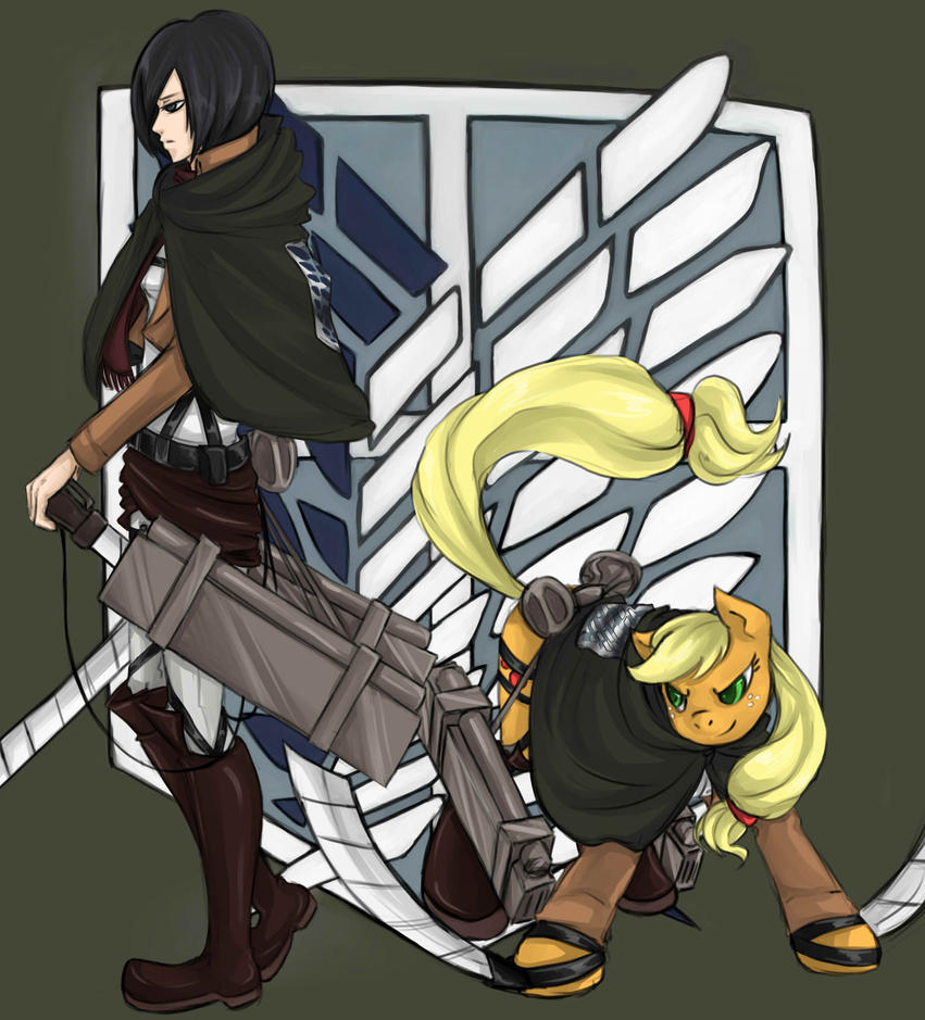 Mikasa and AJ by InsanitylittleRed