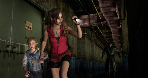 Claire and Sherry running away from Mrx