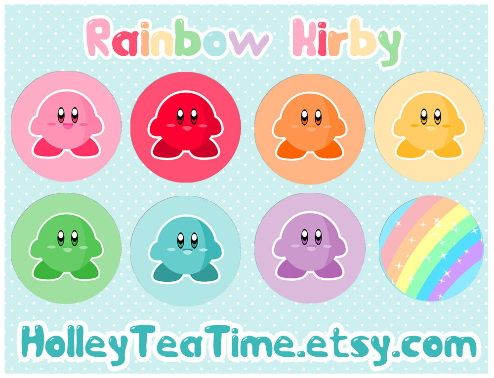 Rainbow Kirby Button Badges by miemie-chan3