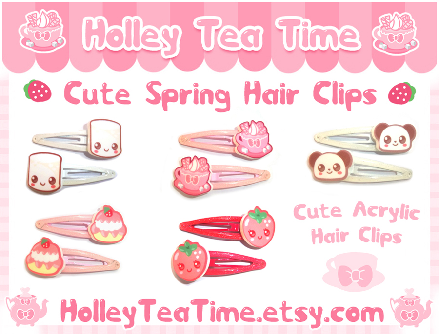 Cute Spring Acrylic Hair Clips by miemie-chan3