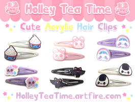 Cute Acrylic Hair Clips by miemie-chan3