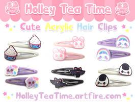 Cute Acrylic Hair Clips by miemie-chan3