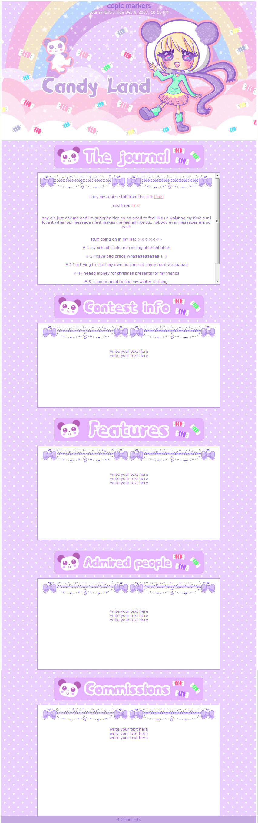 Kawaii Journal skin Candy Land by miemie-chan3