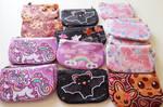 Cute mini coin purses set 1 unicorn - cookie - bat