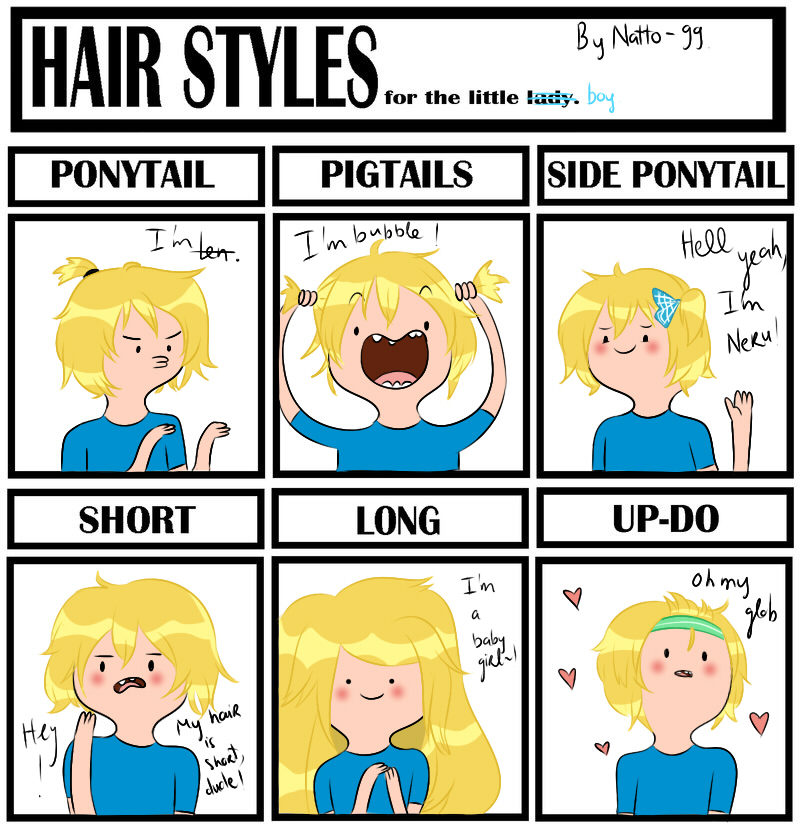 Hair style meme - Finn the human by natto-ngooyen