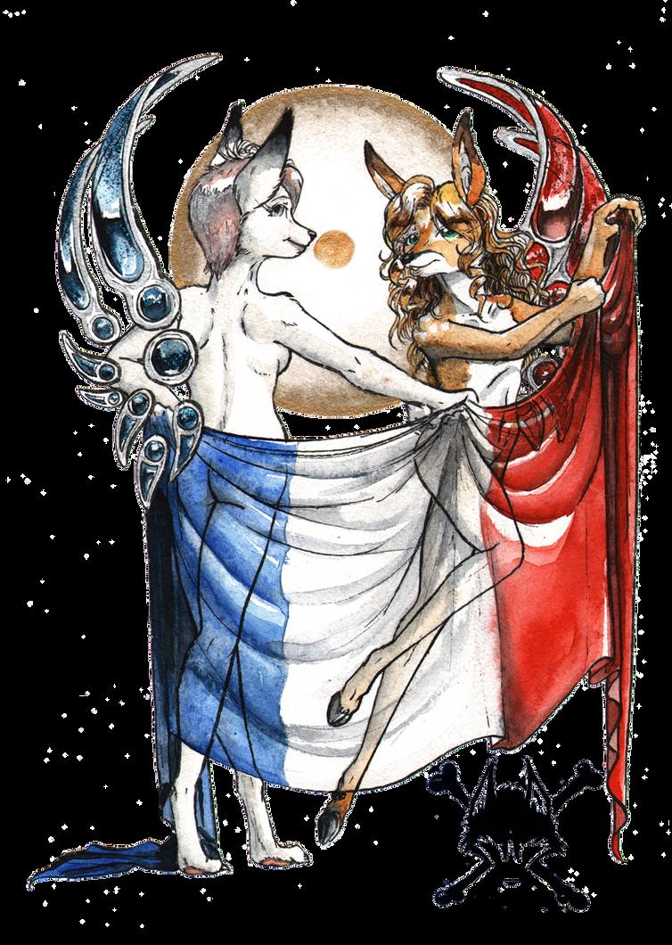 Kitsune Tsuki and Noisette - Patriotes by AmiralAesir