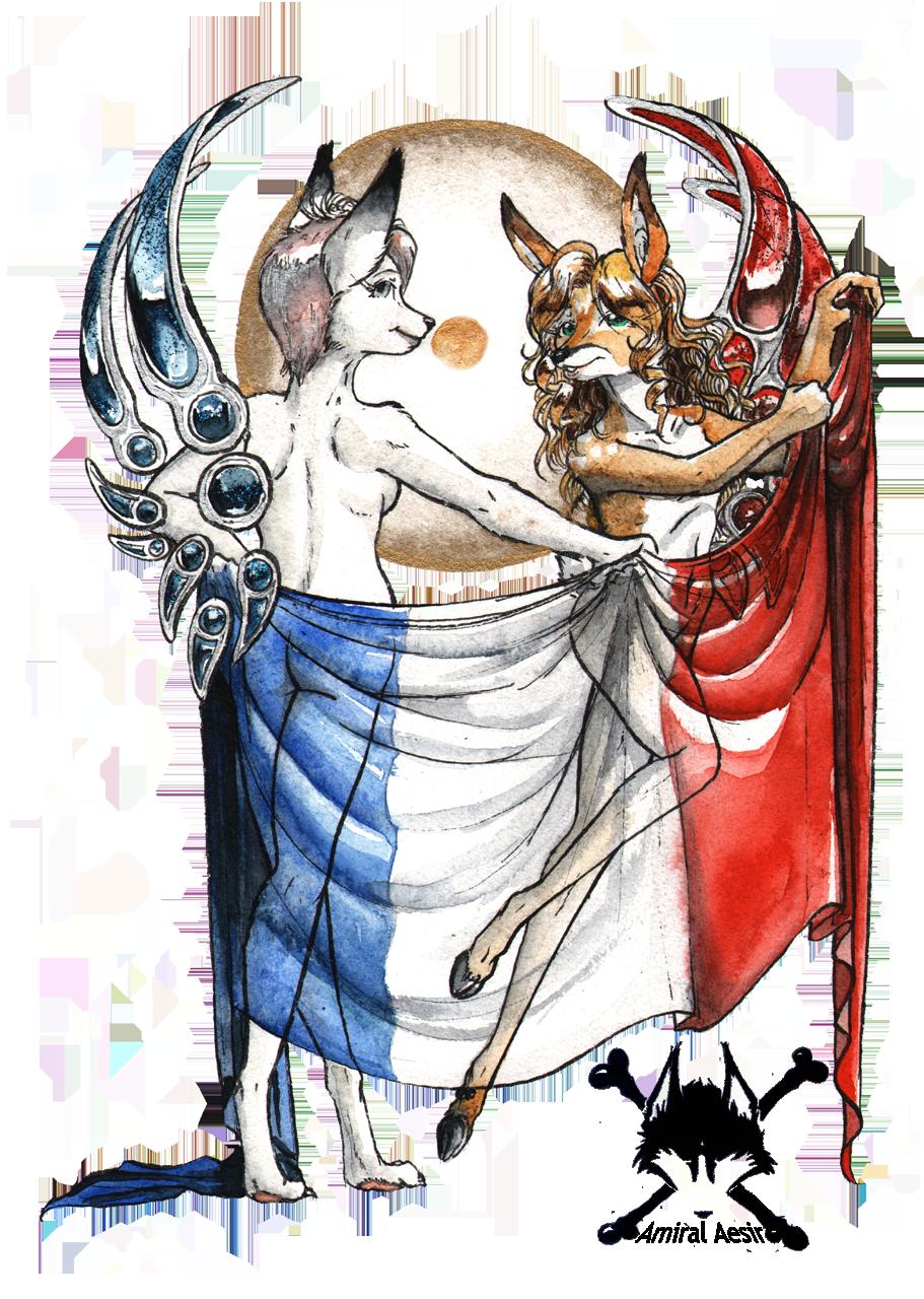 Kitsune Tsuki & Noisette - Patriotes by AmiralAesir