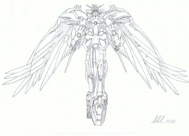 Line Art Zero : First time wing zero custom by blackvegetable on deviantart
