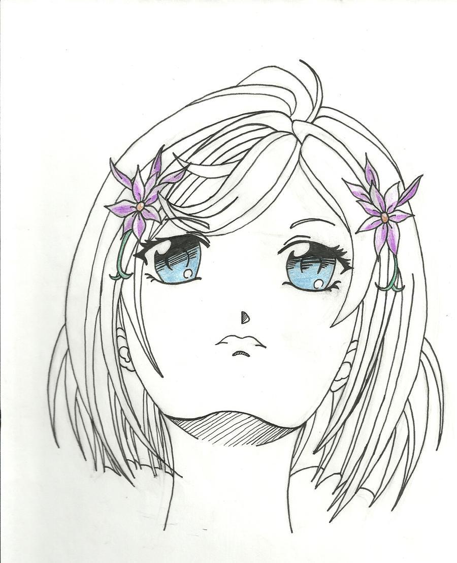 Anime girl face up view by zippyatda
