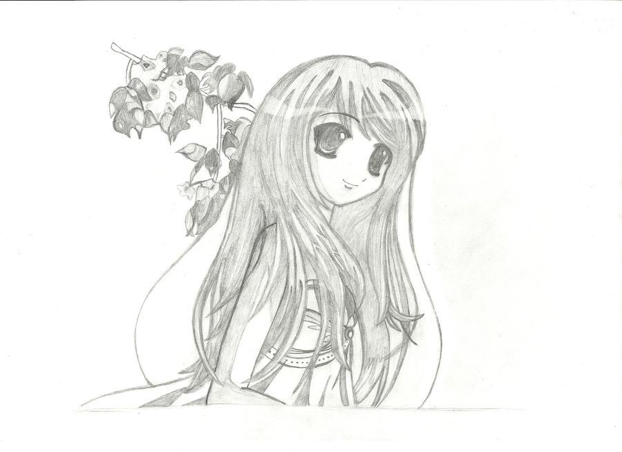 Cute anime girl by zippyatda