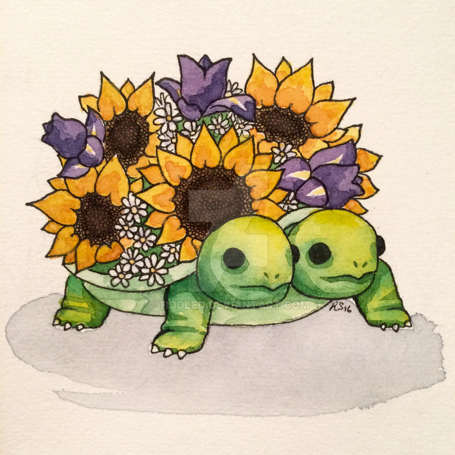 Flower Turtles by tiddled