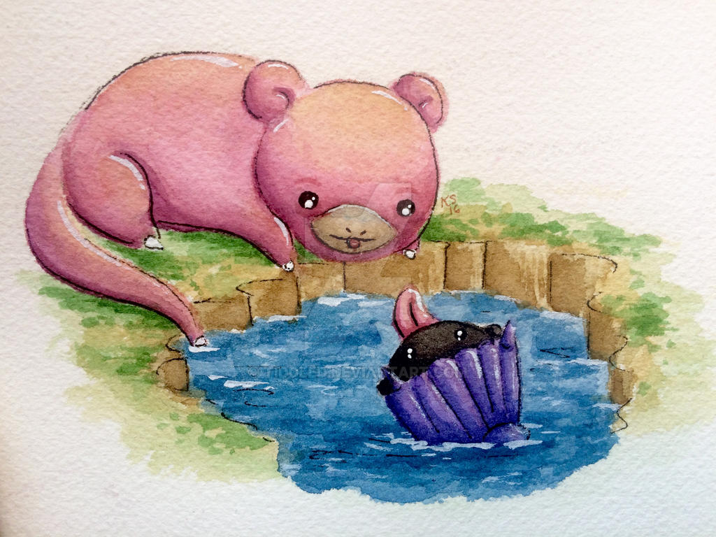 Slowpoke and Shellder by tiddled