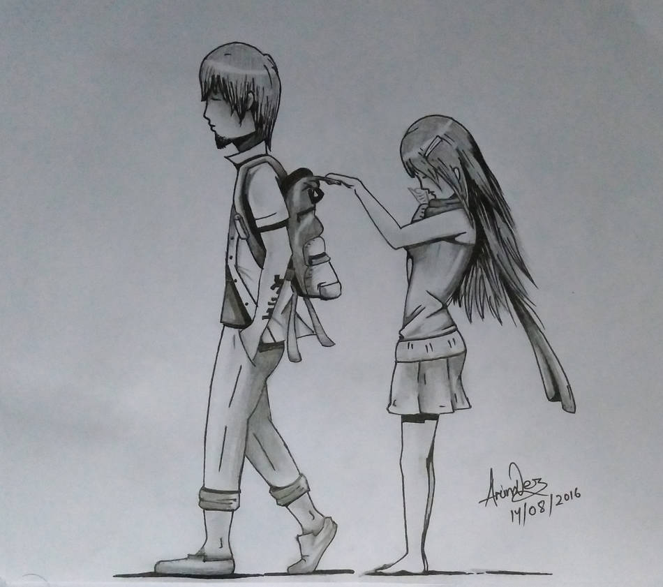 Cute manga couple sketch by d1 graffix