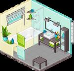 Isometric room: bathroom