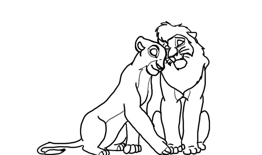 kovu and kiara coloring pages - photo#5