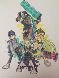 Squid Squad (plus an Octo) by Blackvivillion