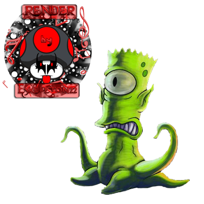 Bart Simpson alien render by eskeleton22