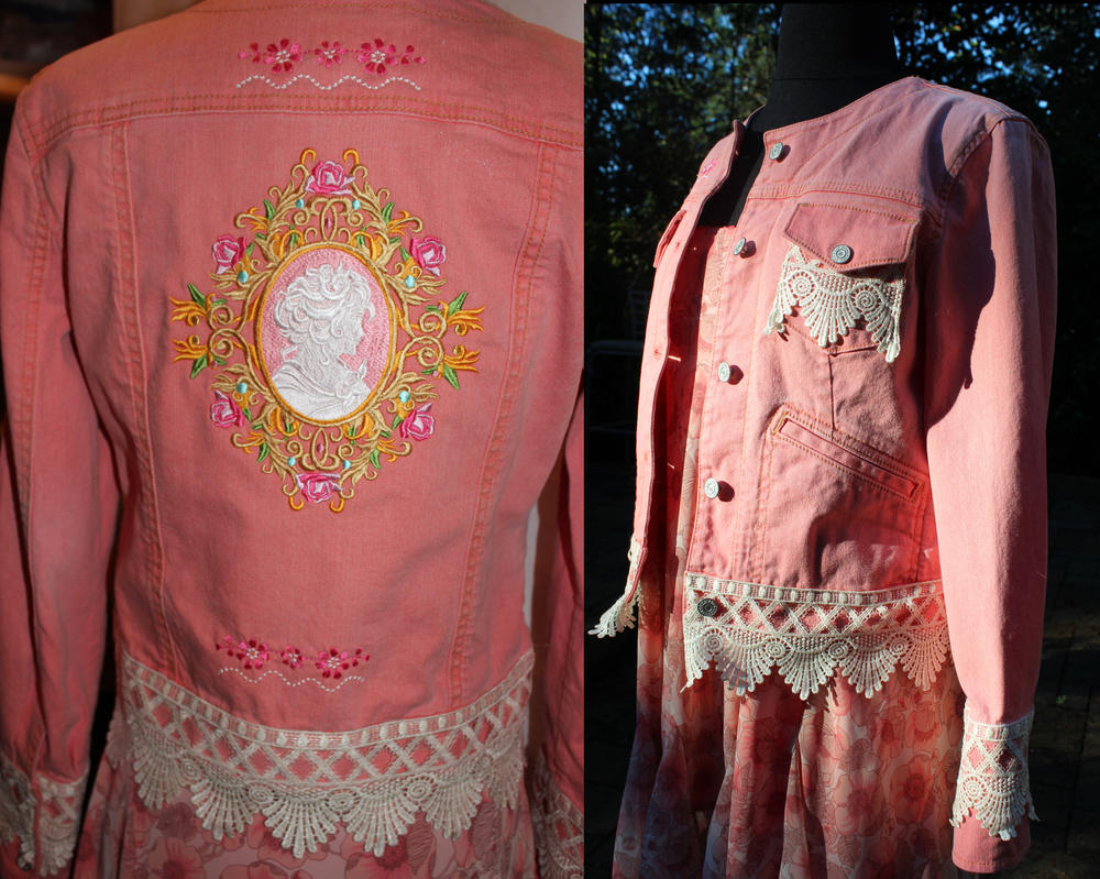 CARAUT-ALTERED - Peach jean jacket and silk skirt by Caraut