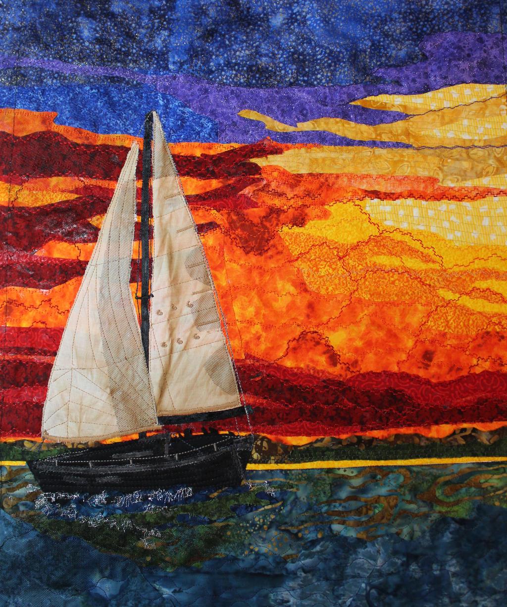 Sailboat at Sunset - a fabric art piece