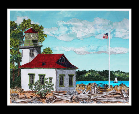 Point Robinson LIghthouse - fabric collage art