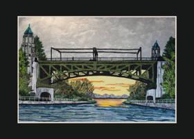 Fabric Collage Art - Montlake Drawbridge (Seattle)