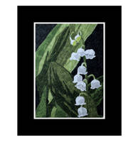 Lily of the Valley - a fabric collage art piece