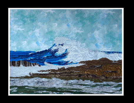 'The Big Wave'- a fabric collage art piece