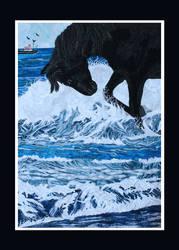 Beach Trot - a fabric collage art piece