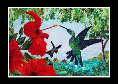 'A Delicate Dance' - A Fabric Collage Art Piece