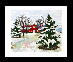 Red Barn in Winter - Made with fabrics and threads