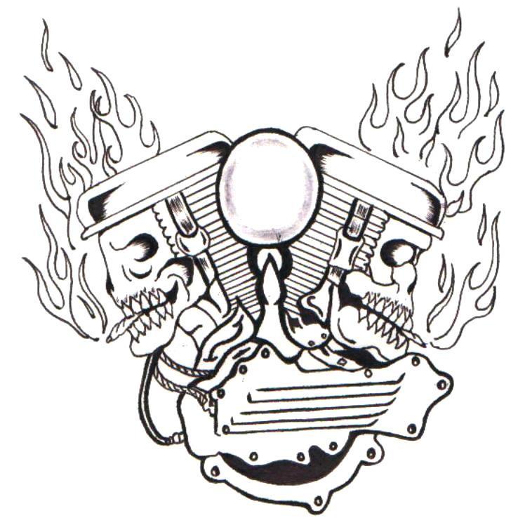 Motor Tattoo Designs Skull motor by ppunker