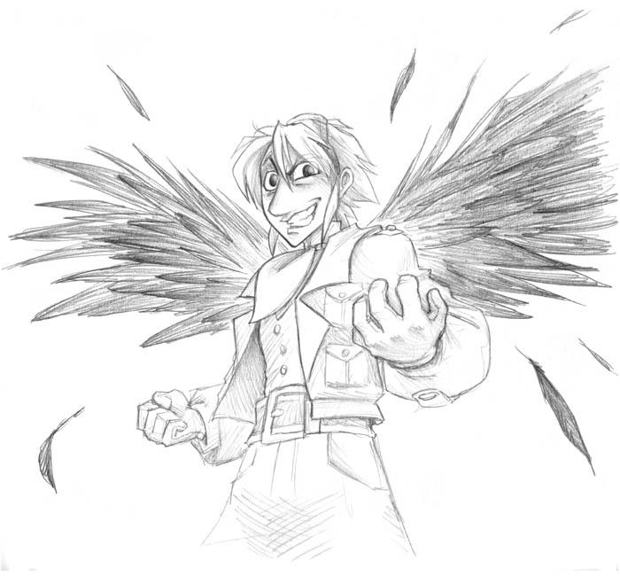 V-Day Sketch: Evil Riel by falingard