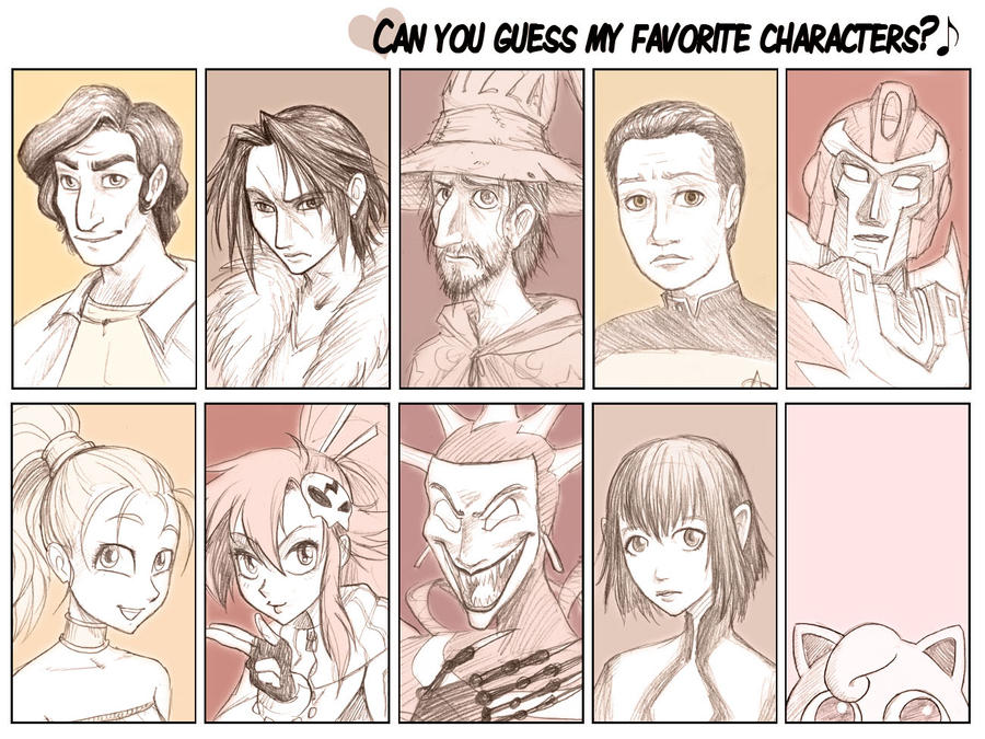 Favourite characters meme by falingard