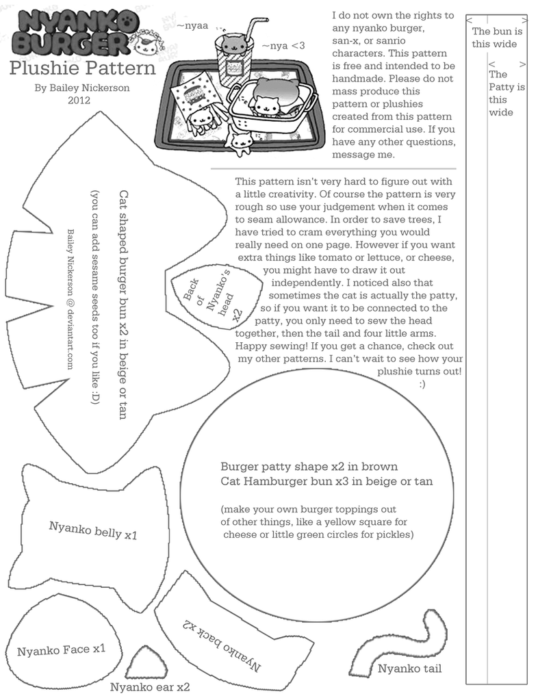 Plushie Pattern: Nyanko Burger (Cat Burger) by BaileyNickerson