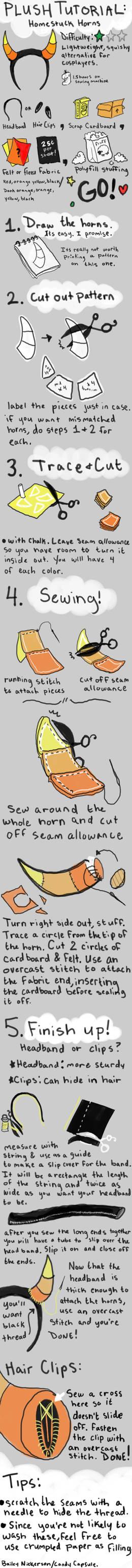 Plush Homestuck Horns Tutorial by BaileyNickerson