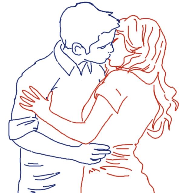 THE KISS - lineart by PhantomDreamerLuna