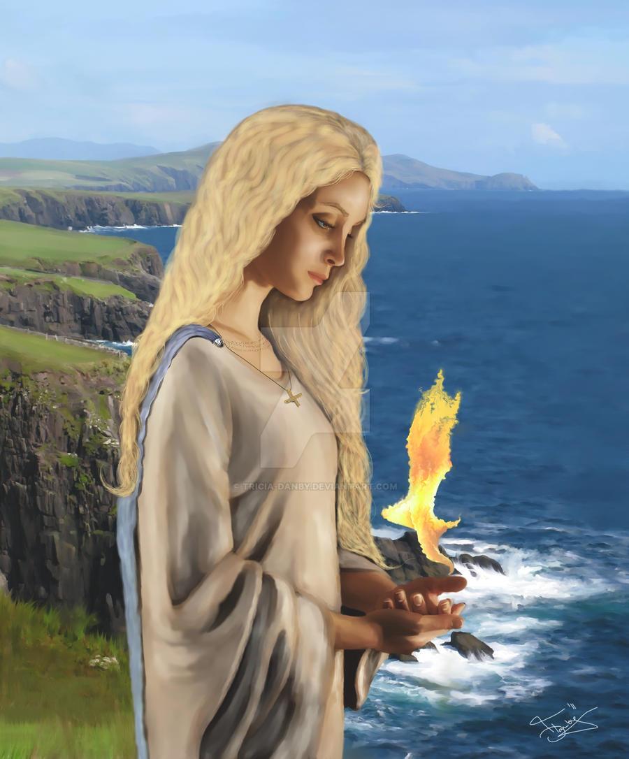 Saint Brigid - Flame of Faith by Tricia-Danby