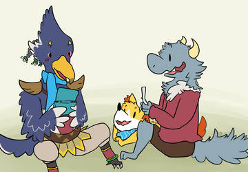 [COLLAB] gamer bird and gamer nerds by Renkindle