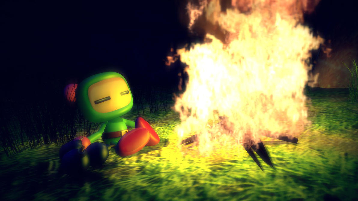 [bomberman] By the campfire by bloodyspare