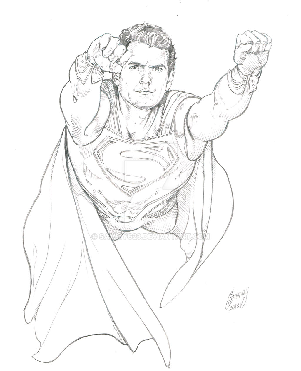 Man of steel finished pencils by sammyg23 on deviantart for Man of steel coloring pages