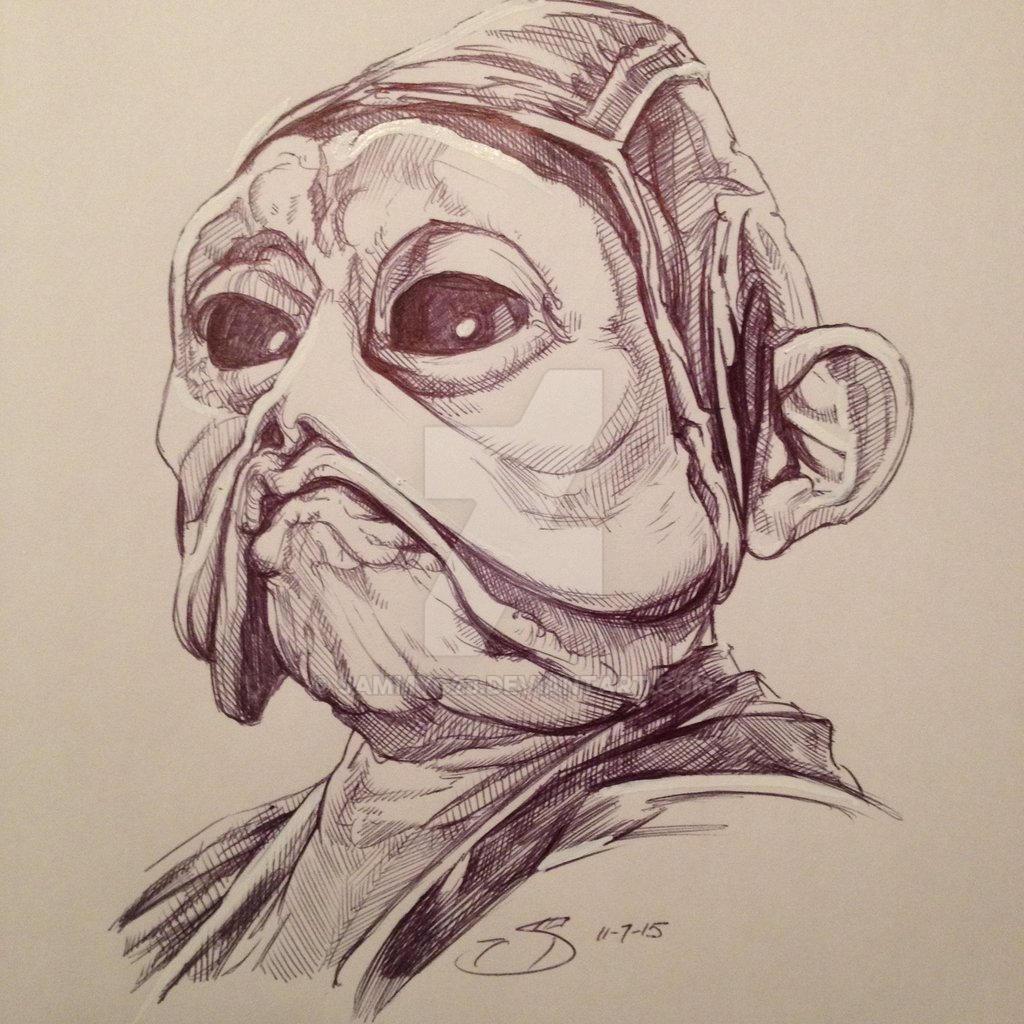 Nien Nunb Star Wars The Force Awakens sketch