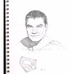 Superman George Reeves sketch pad art