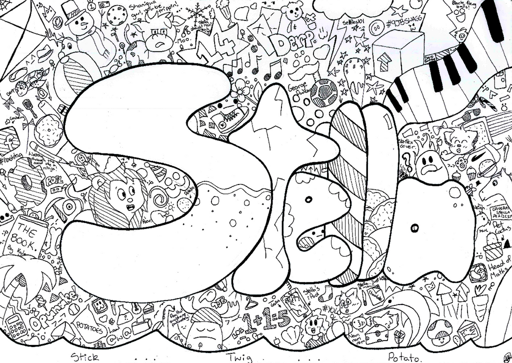 Line Drawing Artists Names : Stella name art by bearyfunny on deviantart