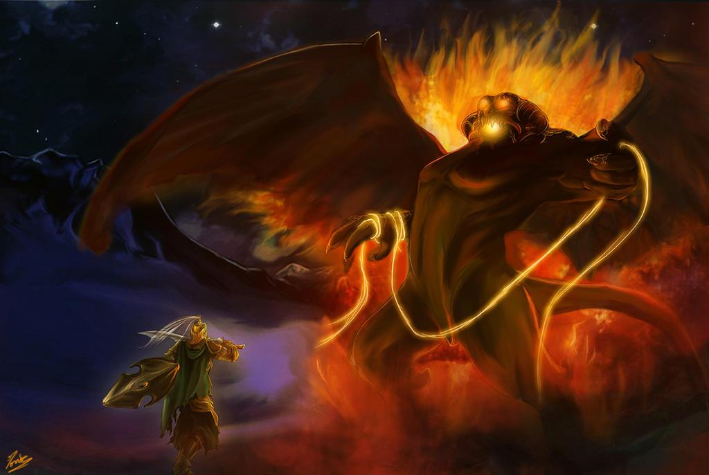 Glorfindel and Balrog by Moumou38