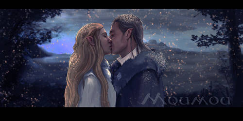 Celeborn Galadriel and snow by Moumou38