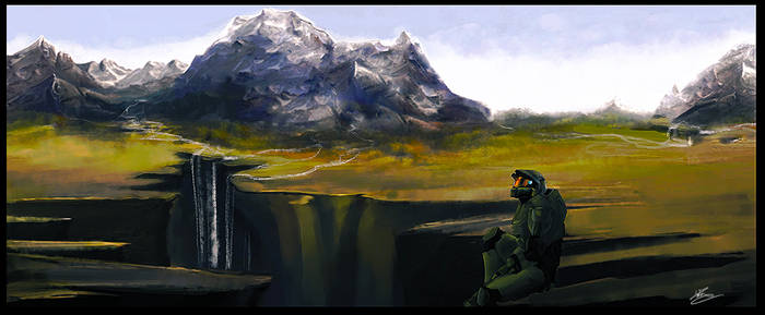 Master Chief sitting by Moumou38