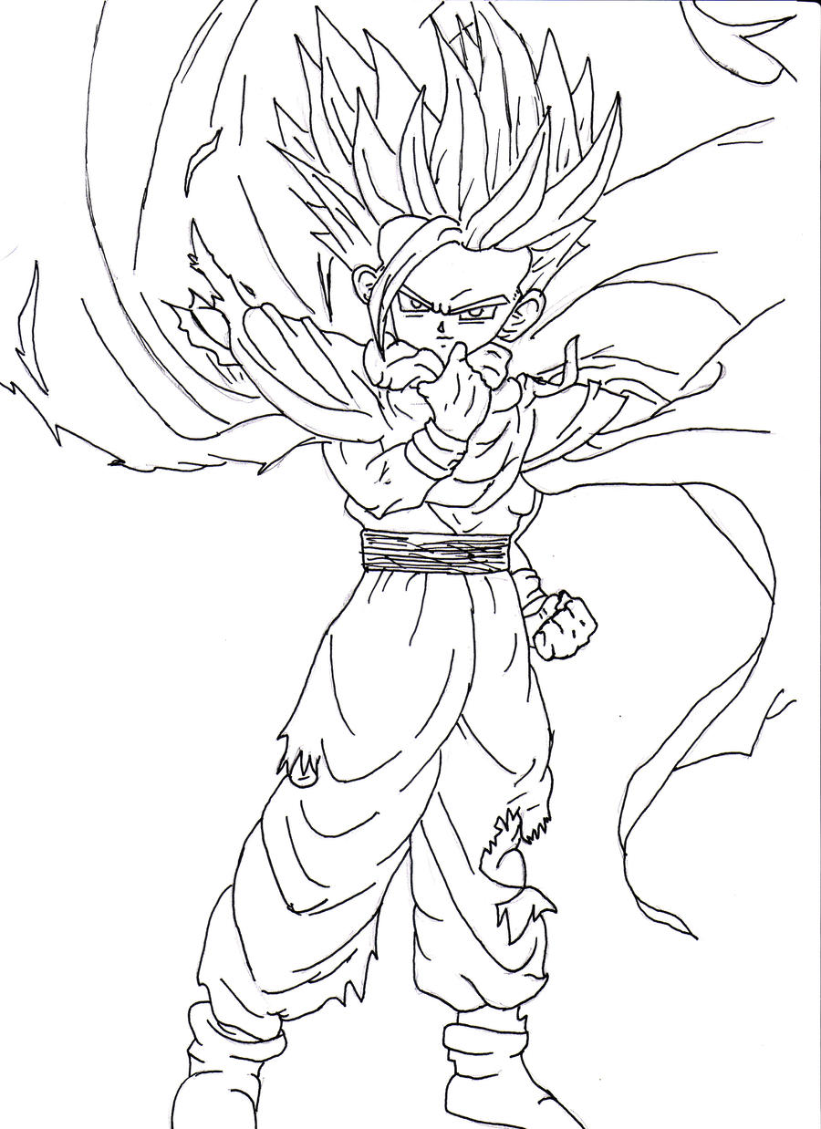 Zzve Line Art : Teen gohan ssj line art by matthew on deviantart