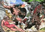 CONAN vs DEATH DEALER  colored commission